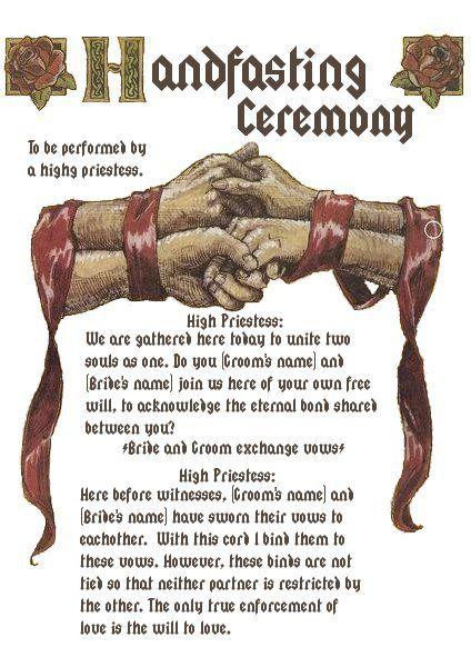 Zeremonie: Handfasting Illustration mit Text.