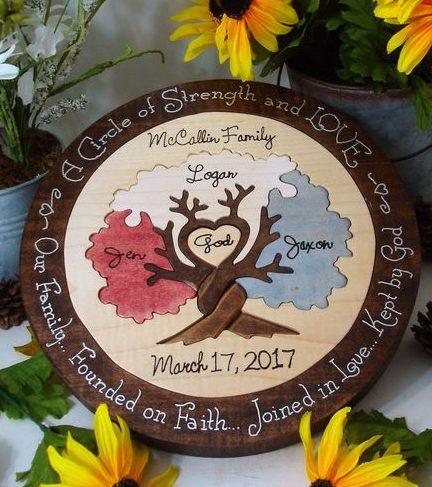 Zeremonie Hochzeitspuzzle aus Holz