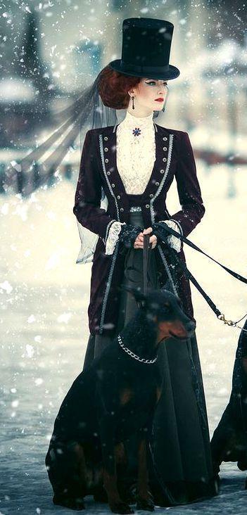 viktorianisches Reitkleid